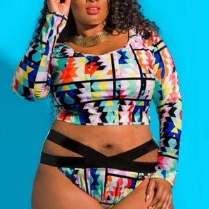 Other - Plus size Hollow out long sleeve bathing suit